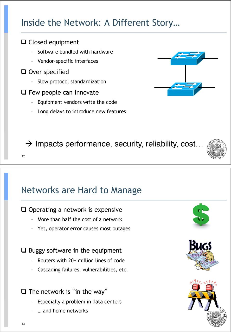 are Hard to Manage! Operating a network is expensive More than half the cost of a network Yet, operator error causes most outages!