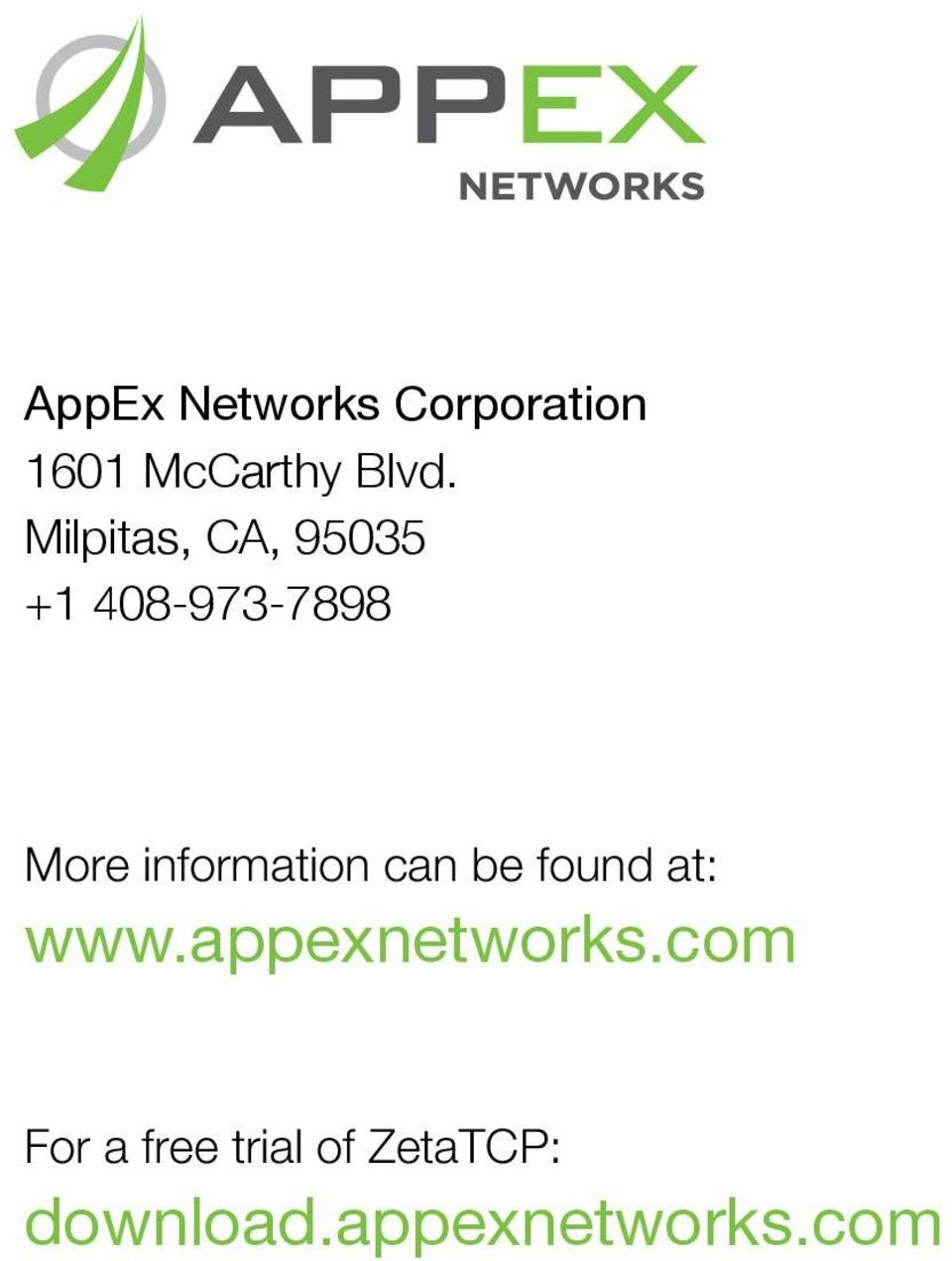information can be found at: www.appexnetworks.