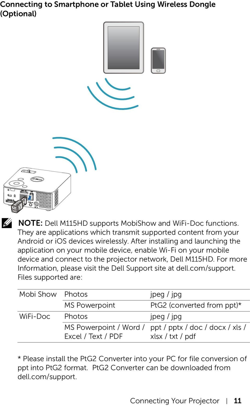 After installing and launching the application on your mobile device, enable Wi-Fi on your mobile device and connect to the projector network, Dell M115HD.