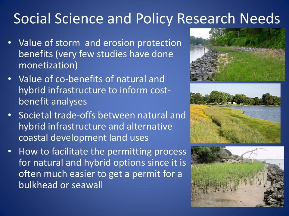 trade-offs between natural and hybrid infrastructure and alternative coastal development land uses How to facilitate
