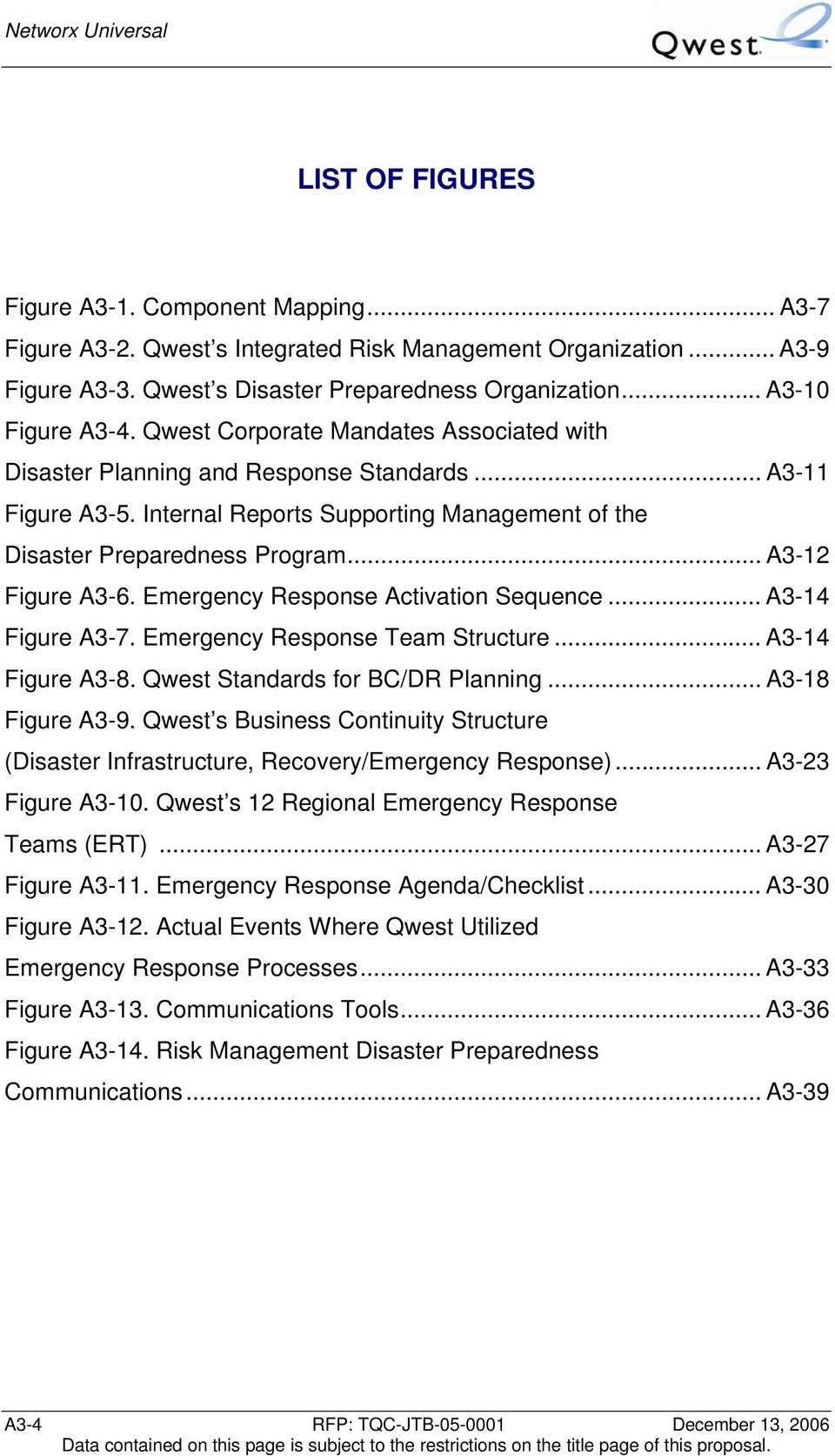 Emergency Response Activation Sequence... A3-14 Figure A3-7. Emergency Response Team Structure... A3-14 Figure A3-8. Qwest Standards for BC/DR Planning... A3-18 Figure A3-9.