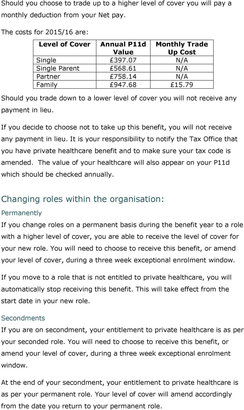 79 Should you trade down to a lower level of cover you will not receive any payment in lieu. If you decide to choose not to take up this benefit, you will not receive any payment in lieu.