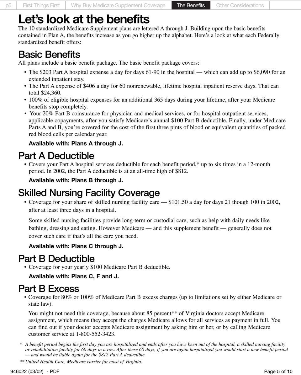 Here s a look at what each Federally standardized benefit offers: All plans include a basic benefit package.