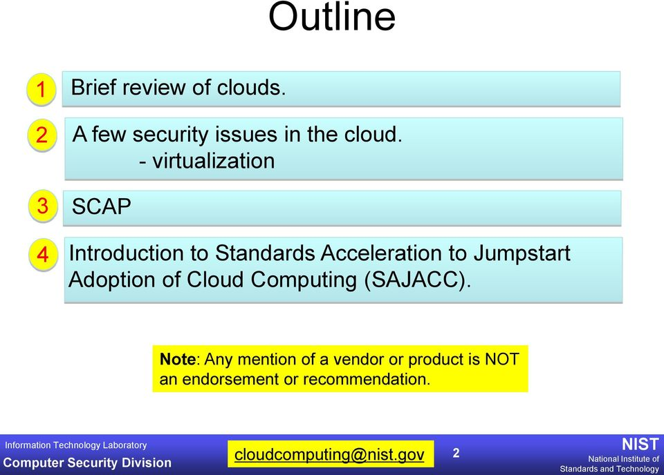 - virtualization 3 SCP 4 Introduction to Standards cceleration to
