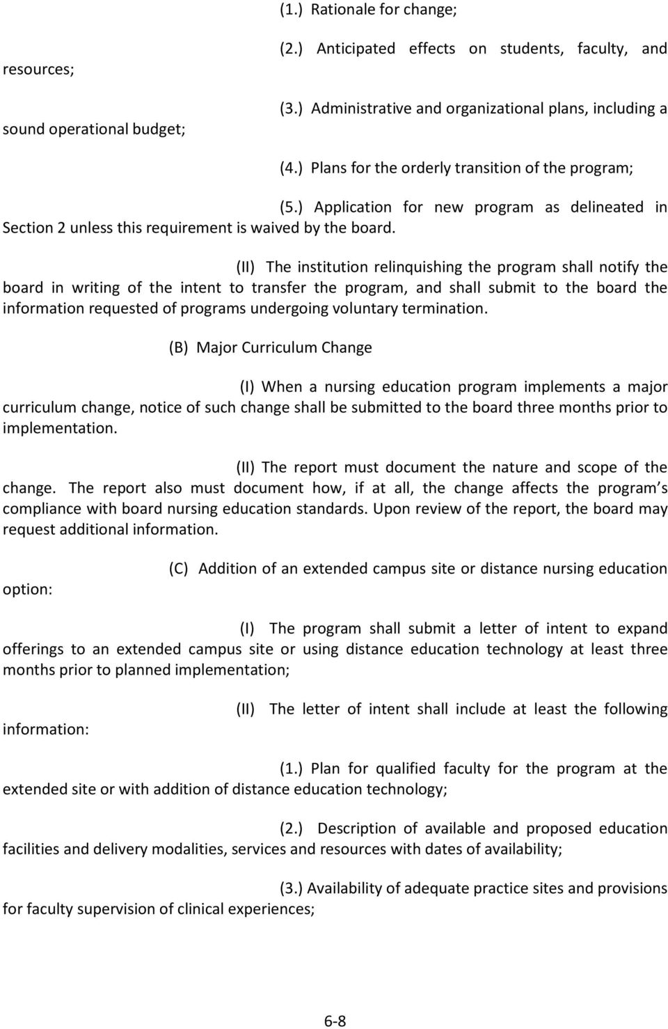 (II) The institution relinquishing the program shall notify the board in writing of the intent to transfer the program, and shall submit to the board the information requested of programs undergoing