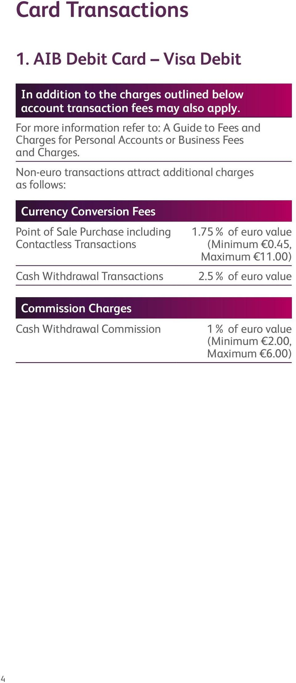 Non-euro transactions attract additional charges as follows: Currency Conversion Fees Point of Sale Purchase including Contactless