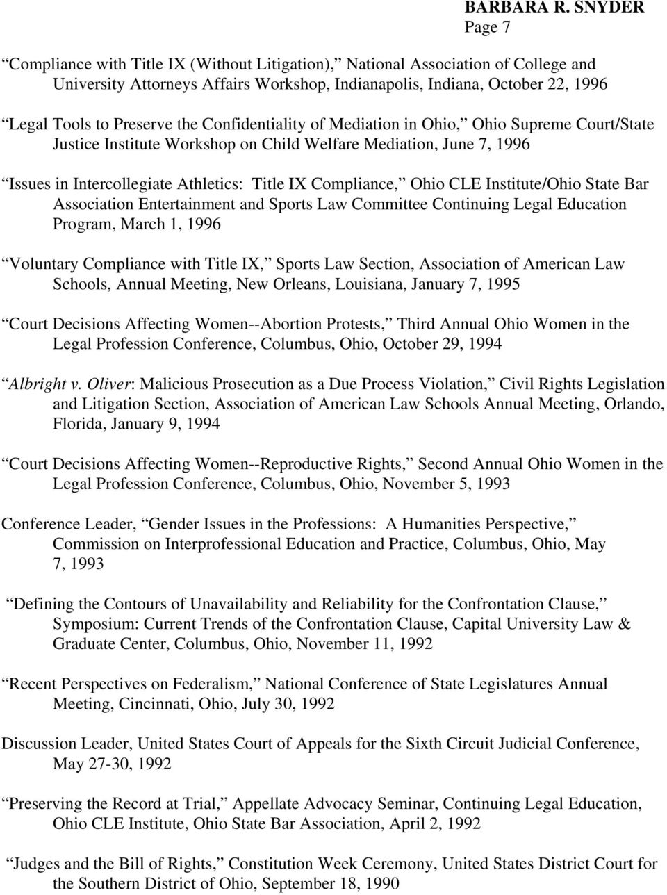 Institute/Ohio State Bar Association Entertainment and Sports Law Committee Continuing Legal Education Program, March 1, 1996 Voluntary Compliance with Title IX, Sports Law Section, Association of