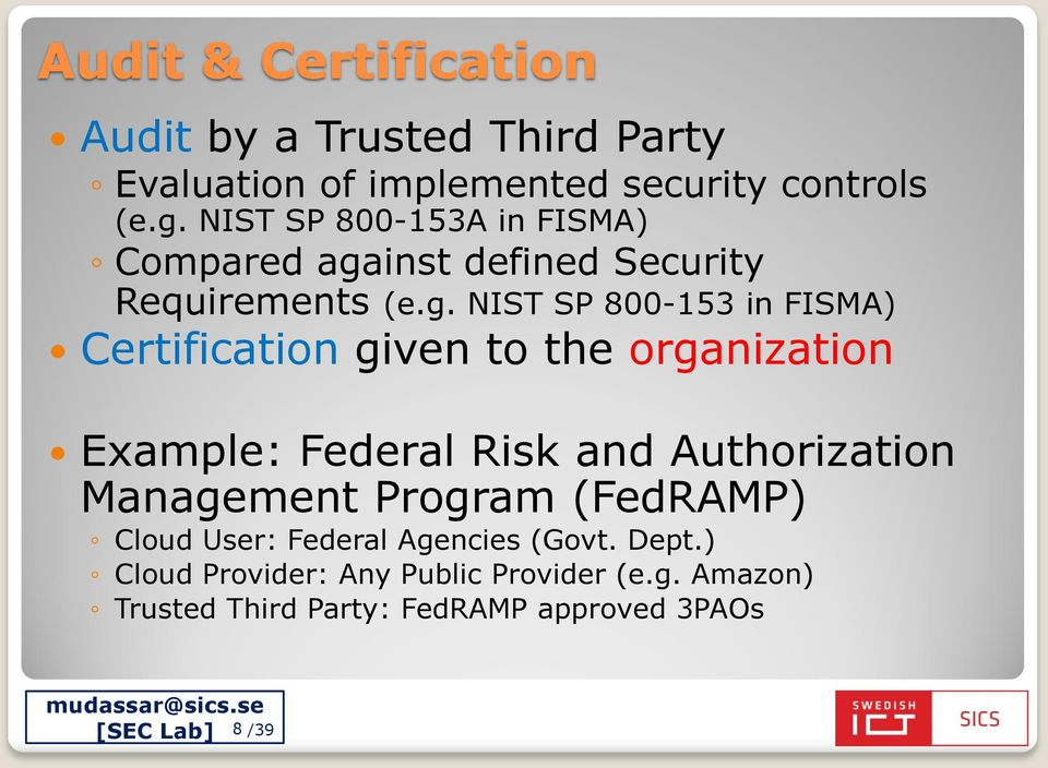 inst defined Security Requirements (e.g.