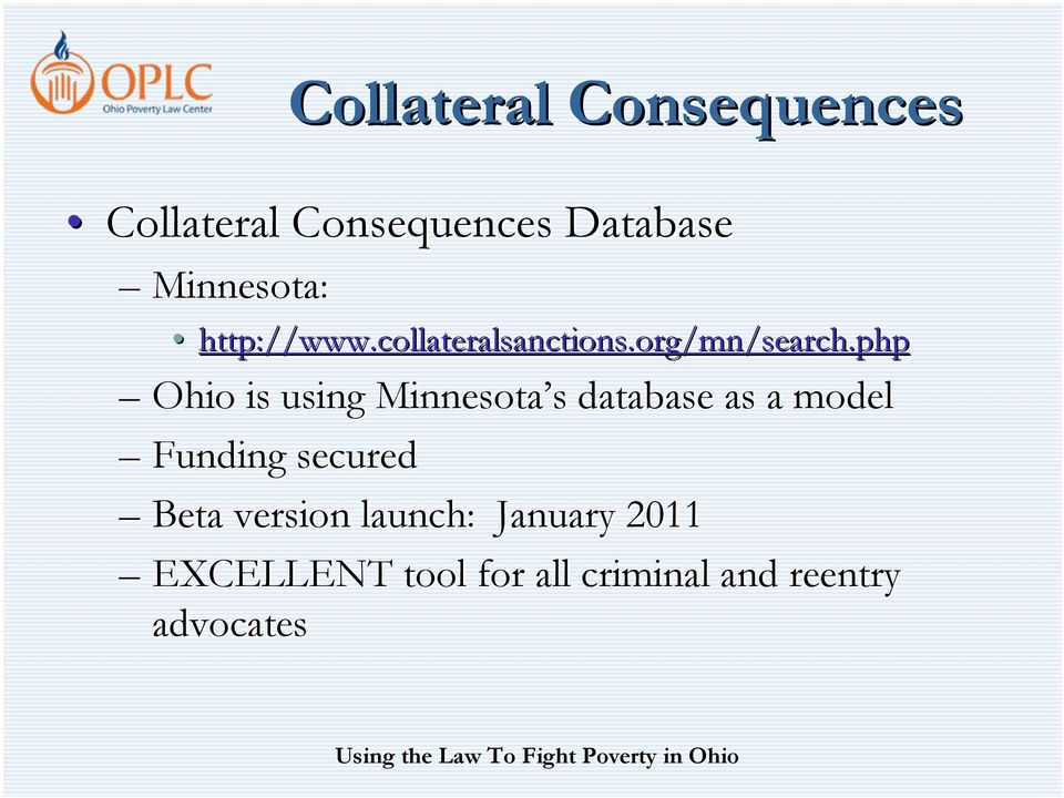 php Ohio is using Minnesota s s database as a model Funding
