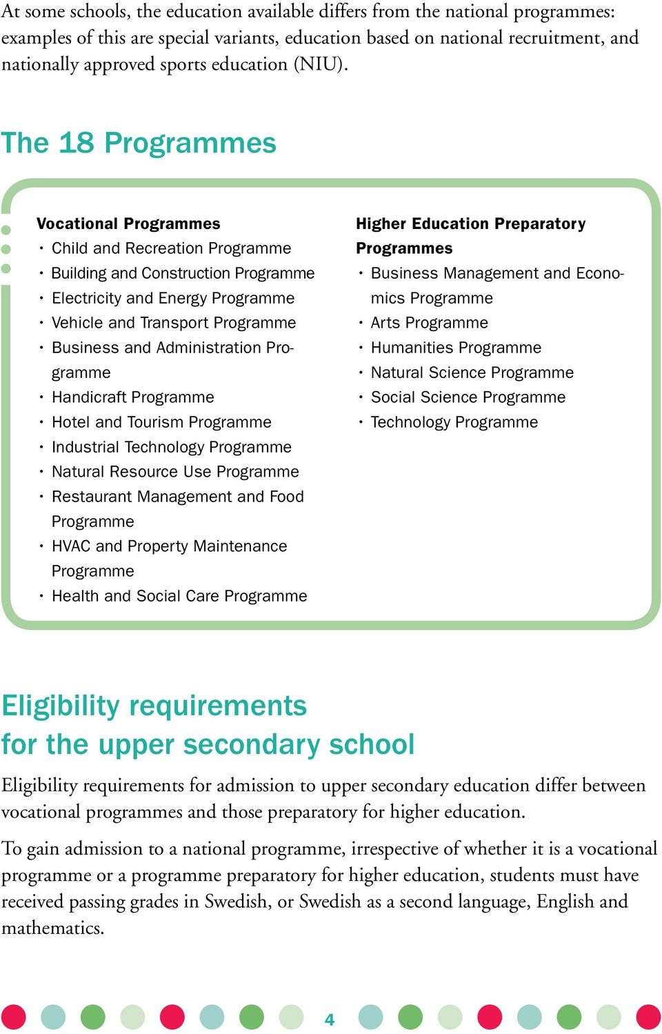 The 18 Programmes Vocational Programmes Child and Recreation Programme Building and Construction Programme Electricity and Energy Programme Vehicle and Transport Programme Business and Administration