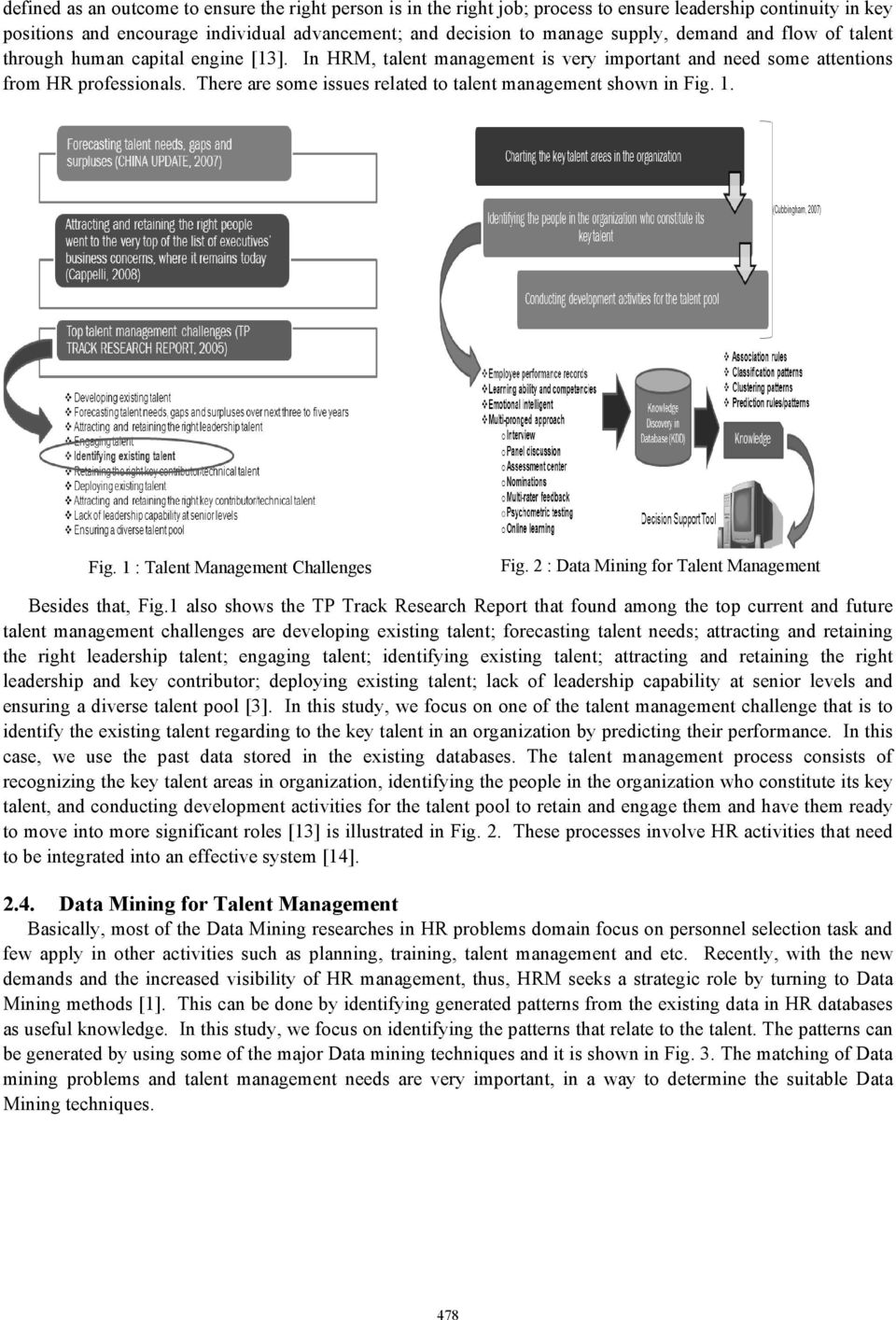 There are some issues related to talent management shown in Fig. 1. Fig. 1 : Talent Management Challenges Fig. 2 : Data Mining for Talent Management Besides that, Fig.