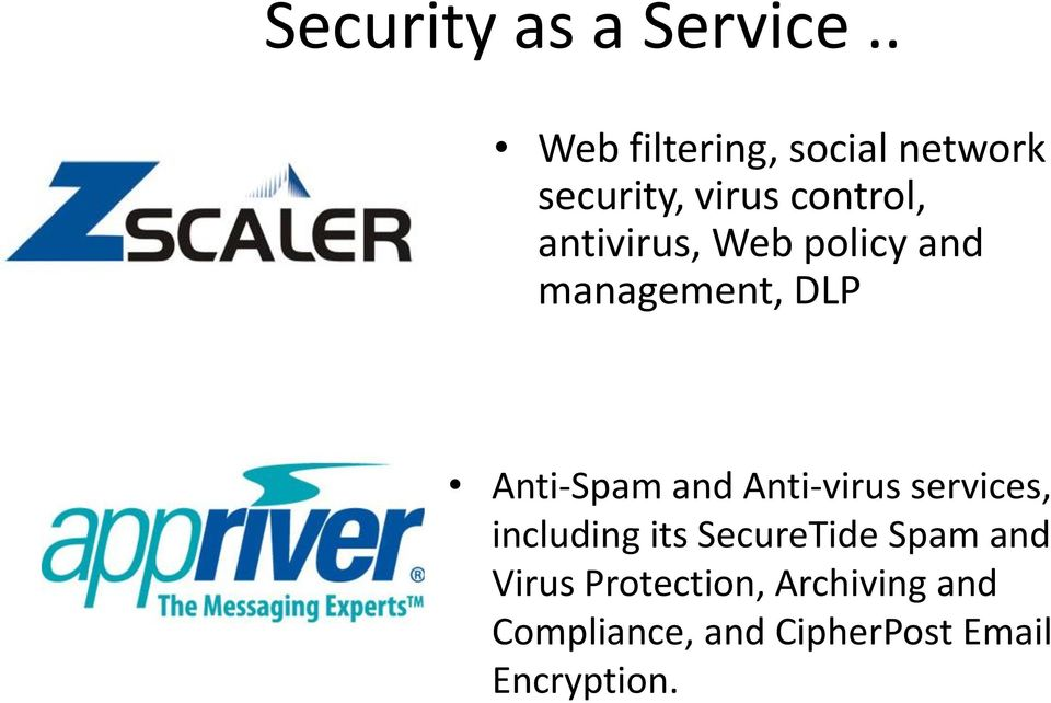 antivirus, Web policy and management, DLP Anti-Spam and Anti-virus
