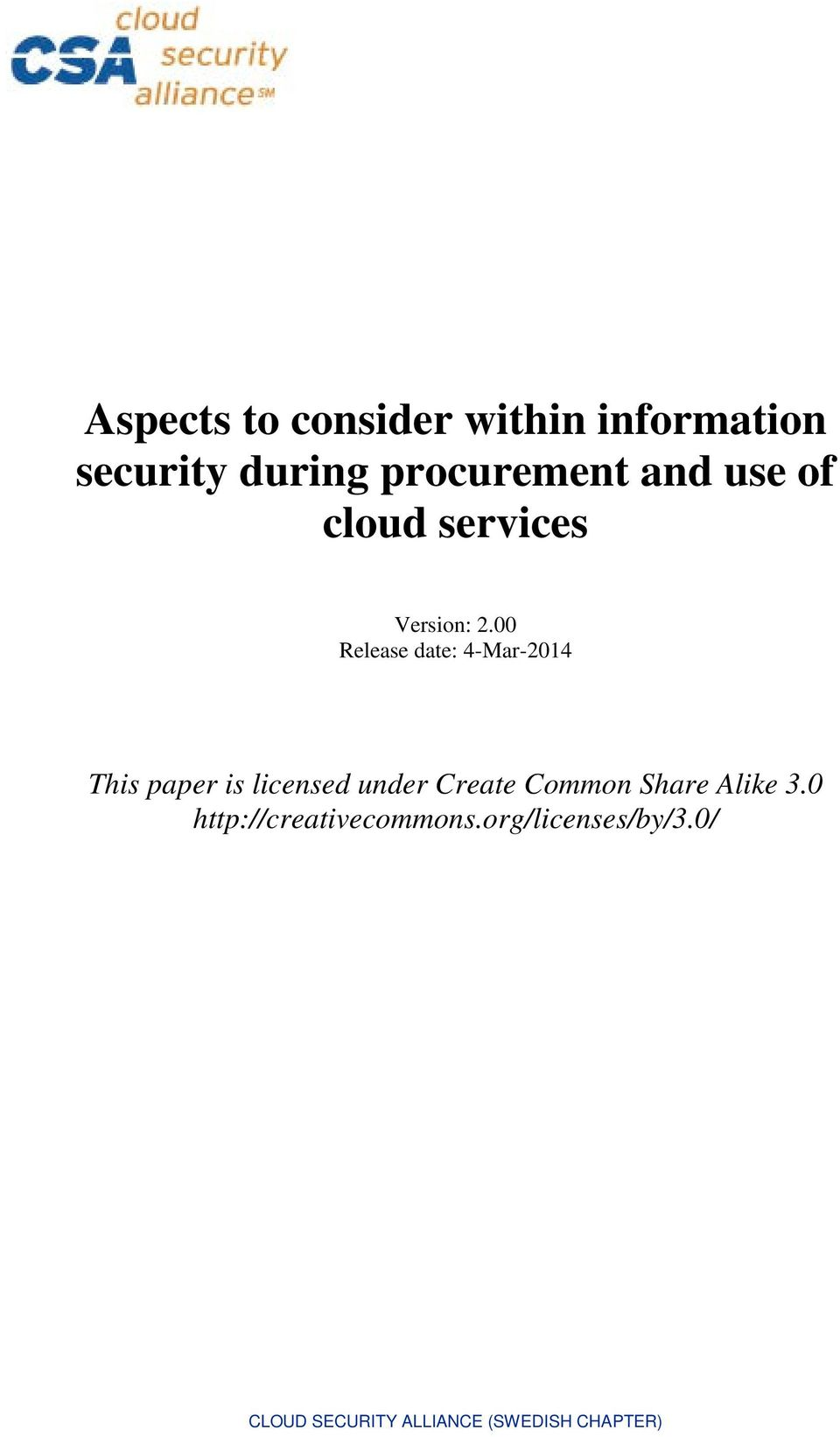 00 Release date: 4-Mar-2014 This paper is licensed under