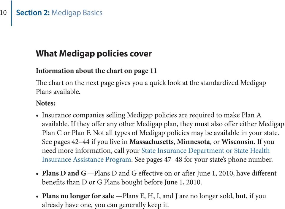 Not all types of Medigap policies may be available in your state. See pages 42 44 if you live in Massachusetts, Minnesota, or Wisconsin.