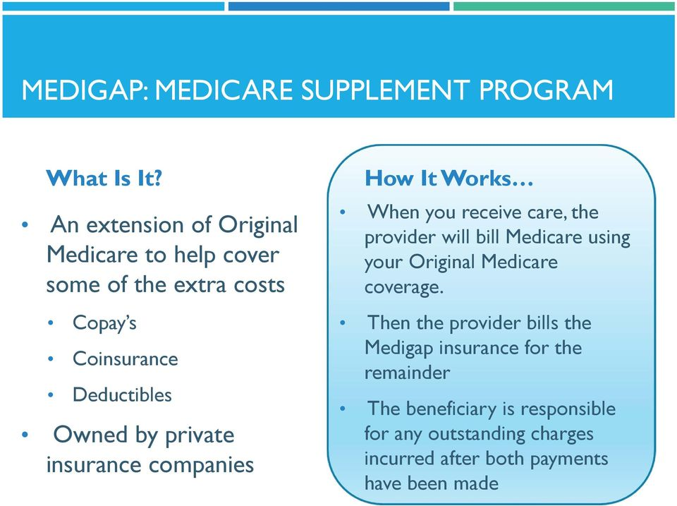 private insurance companies How It Works When you receive care, the provider will bill Medicare using your Original
