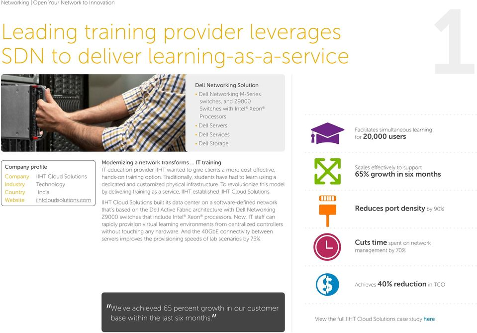 Website iihtcloudsolutions.com Modernizing a network transforms IT training IT education provider IIHT wanted to give clients a more cost-effective, hands-on training option.