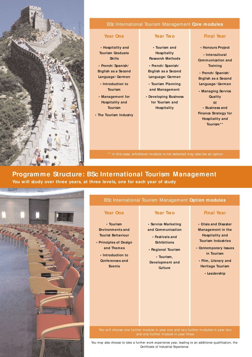International Management You will study over three years, at three levels, one for each year of study BSc International Management Option modules Environments and Tourist Behaviour Principles of