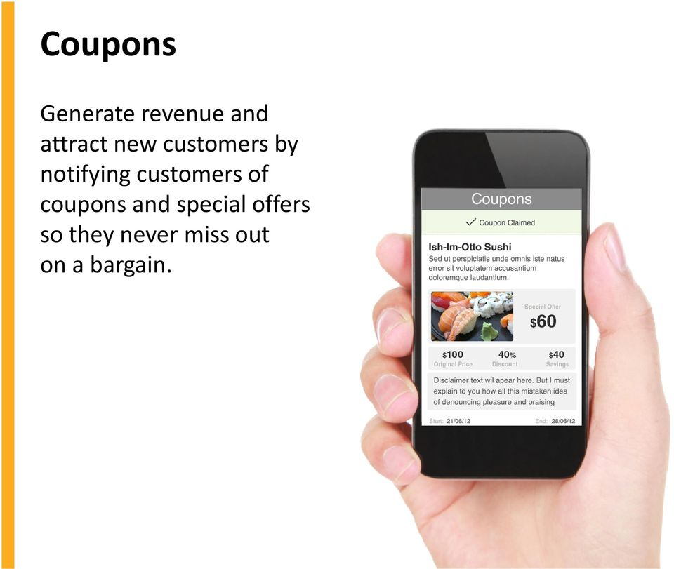 customers of coupons and special
