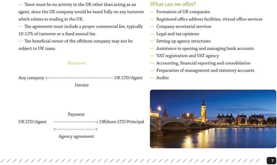 Structure: Any company <--------------------------------------------- UK LTD/Agent Invoice What can we offer?