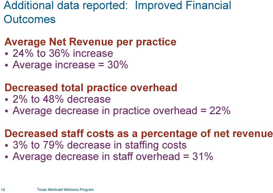 decrease in practice overhead = 22% Decreased staff costs as a percentage of net revenue 3% to