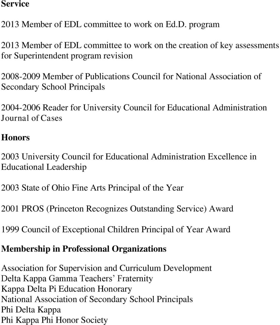 program 2013 Member of EDL committee to work on the creation of key assessments for Superintendent program revision 2008-2009 Member of Publications Council for National Association of Secondary
