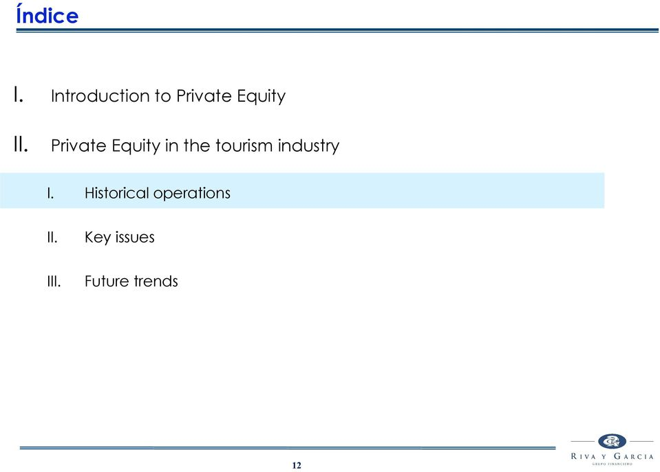 Private Equity in the tourism
