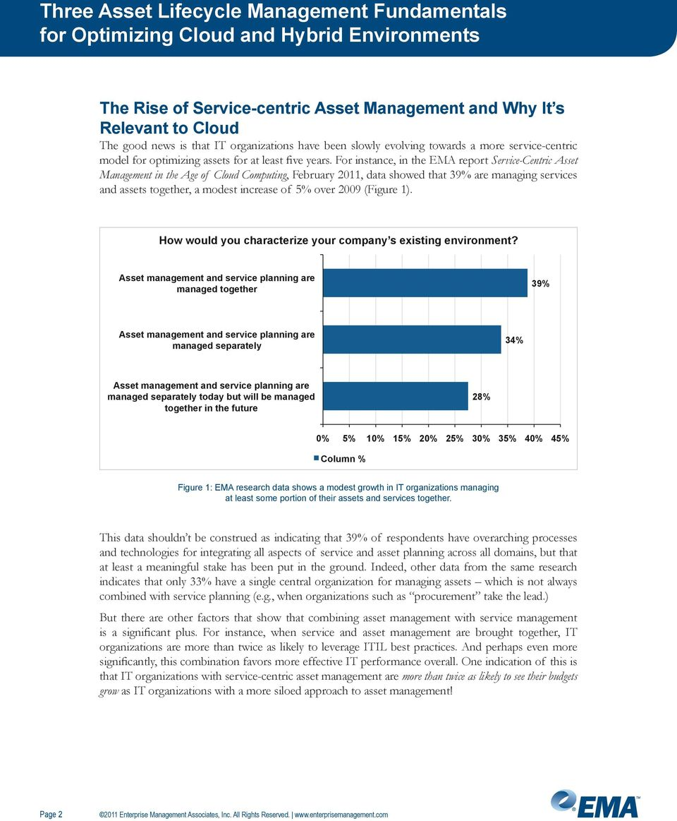 For instance, in the EMA report Service-Centric Asset Management in the Age of Cloud Computing, February 2011, data showed that 39% are managing services and assets together, a modest increase of 5%
