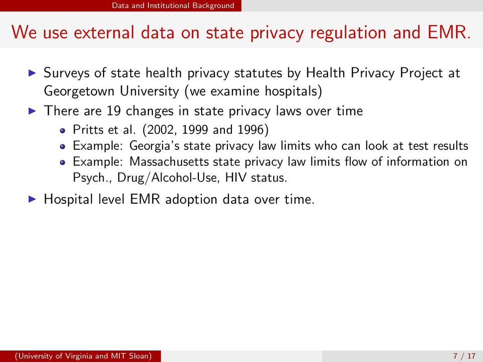 state privacy laws over time Pritts et al.