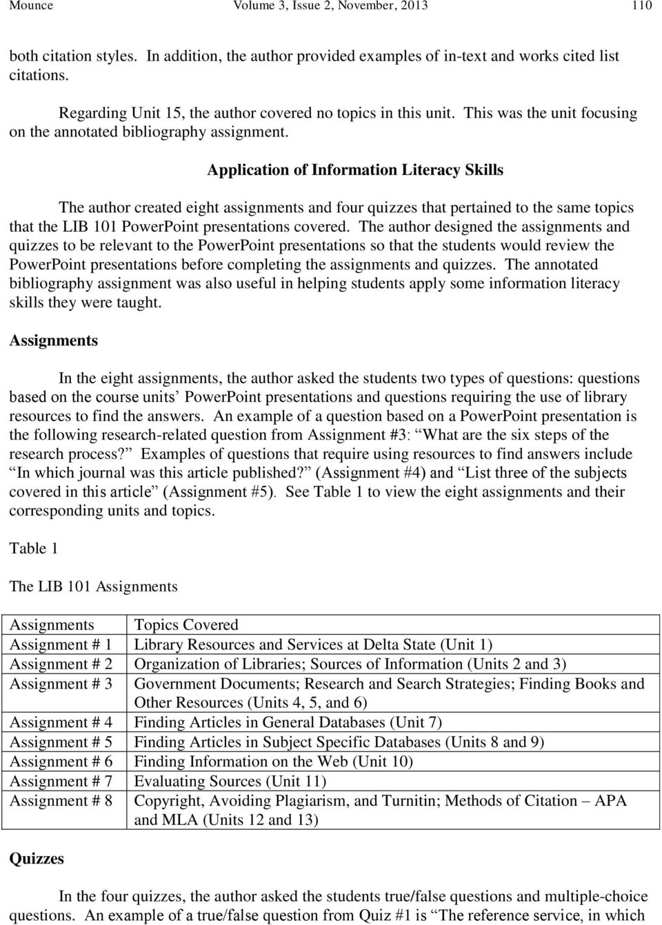 Application of Information Literacy Skills The author created eight assignments and four quizzes that pertained to the same topics that the LIB 101 PowerPoint presentations covered.