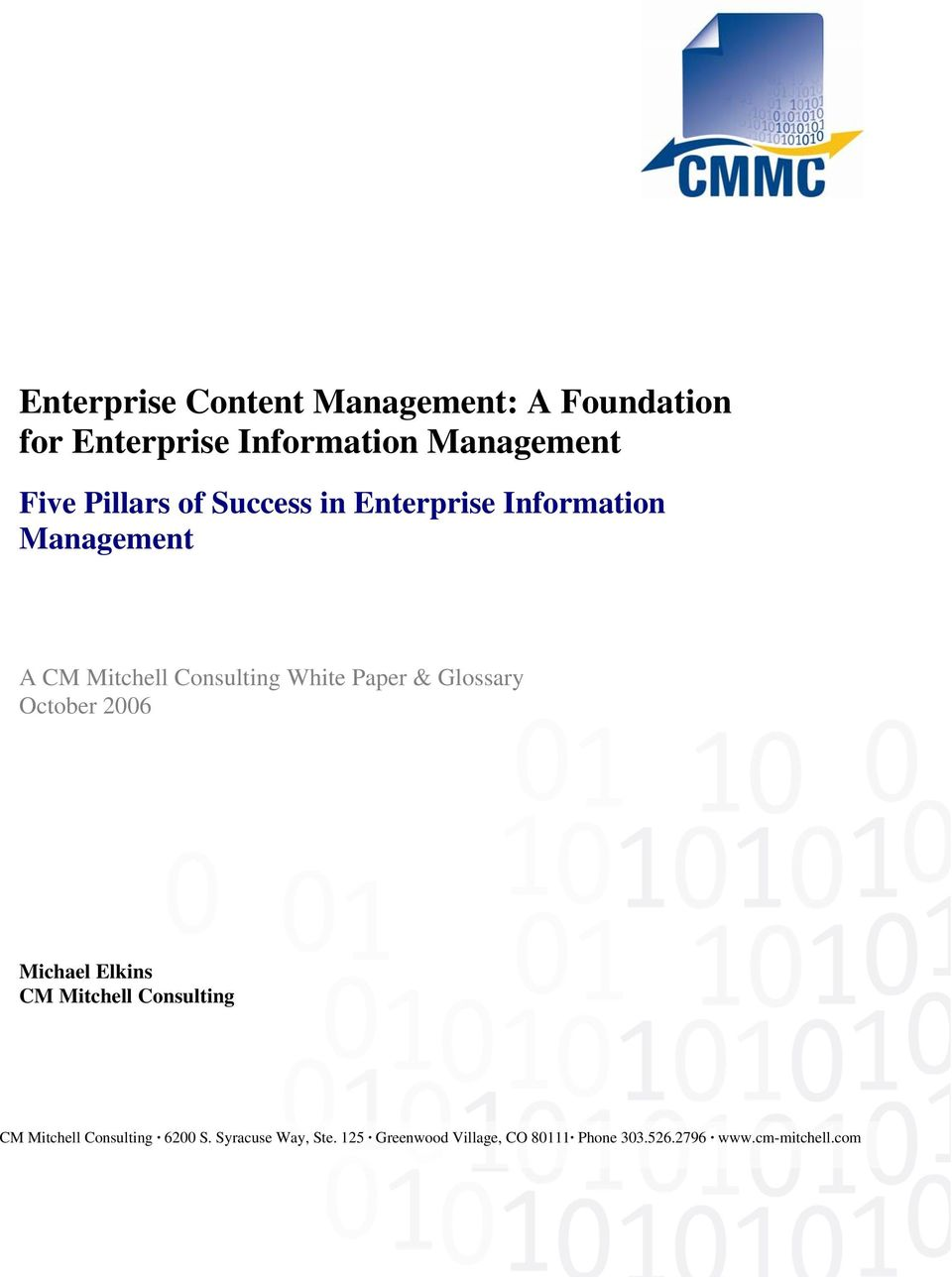 Information Management A CM Mitchell Consulting White Paper &