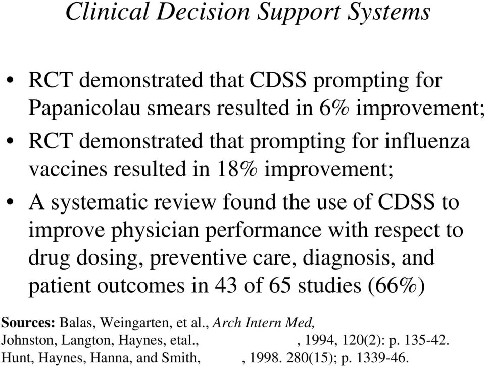 performance with respect to drug dosing, preventive care, diagnosis, and patient outcomes in 43 of 65 studies (66%) Sources: Balas,