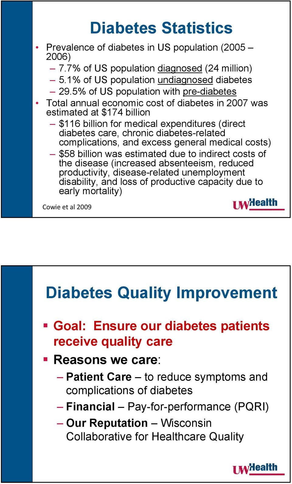 diabetes-related complications, and excess general medical costs) $58 billion was estimated due to indirect costs of the disease (increased absenteeism, reduced productivity, disease-related