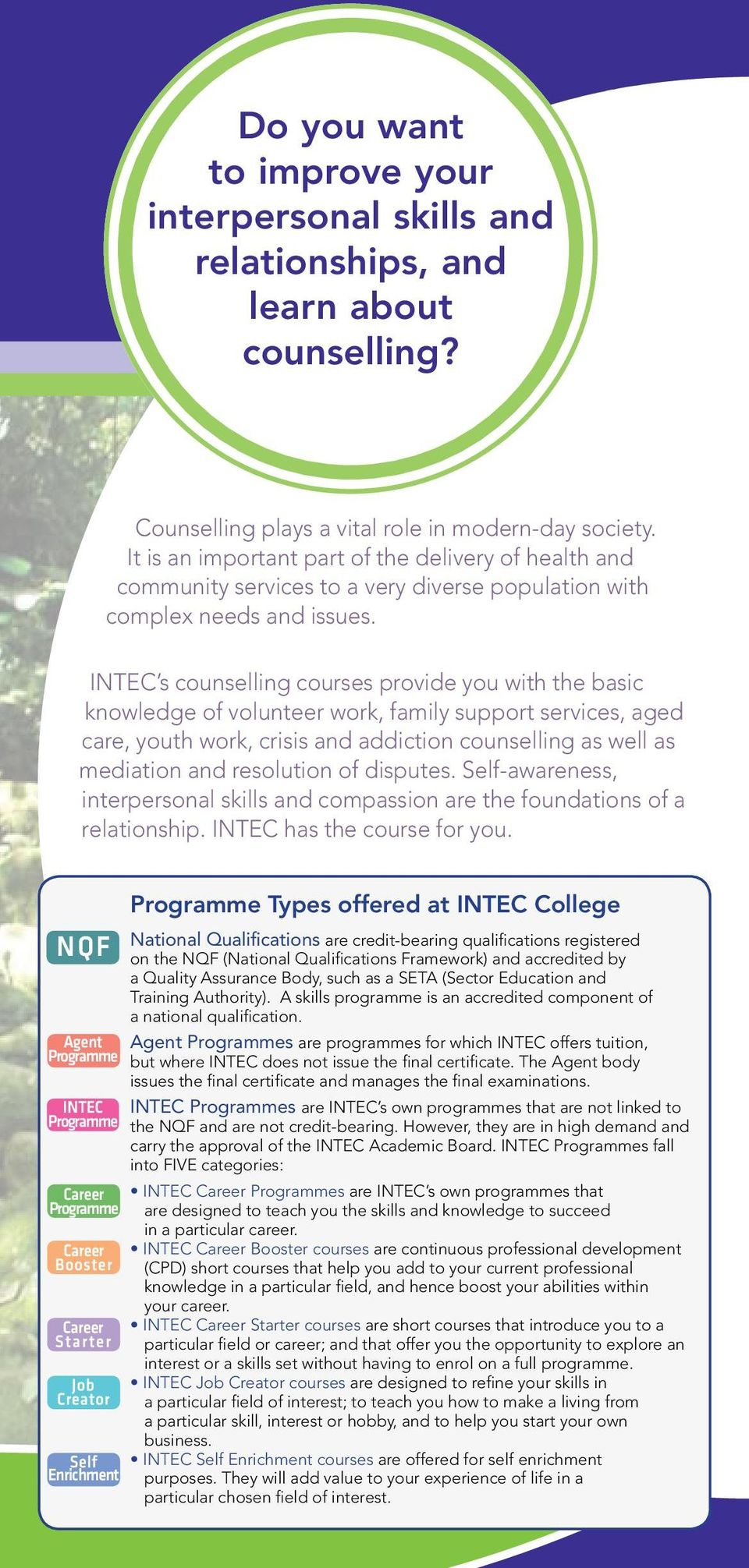 INTEC s counselling courses provide you with the basic knowledge of volunteer work, family support services, aged care, youth work, crisis and addiction counselling as well as mediation and