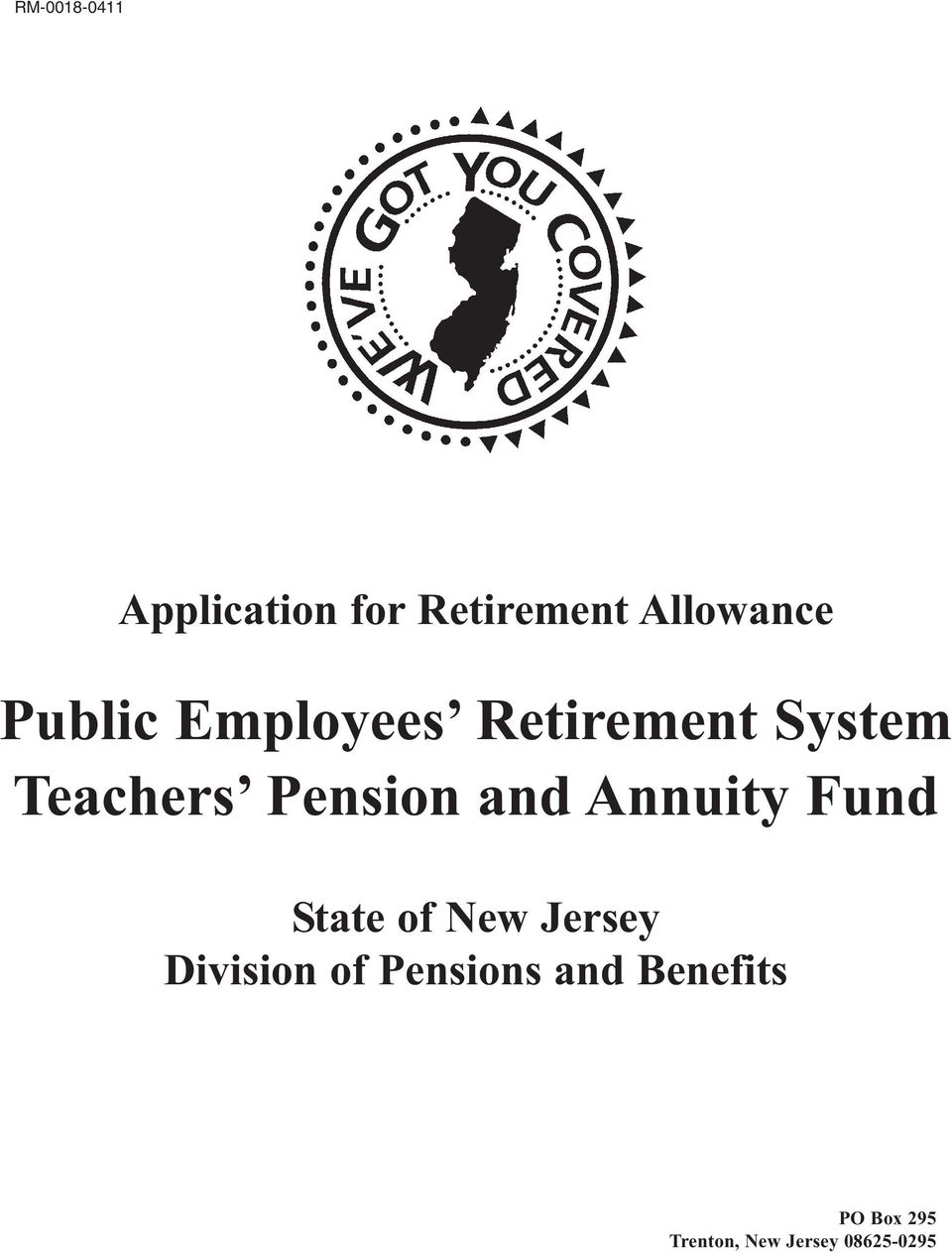 and Annuity Fund State of New Jersey Division of
