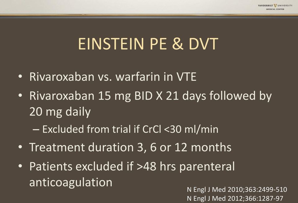 Excluded from trial if CrCl <30 ml/min Treatment duration 3, 6 or 12