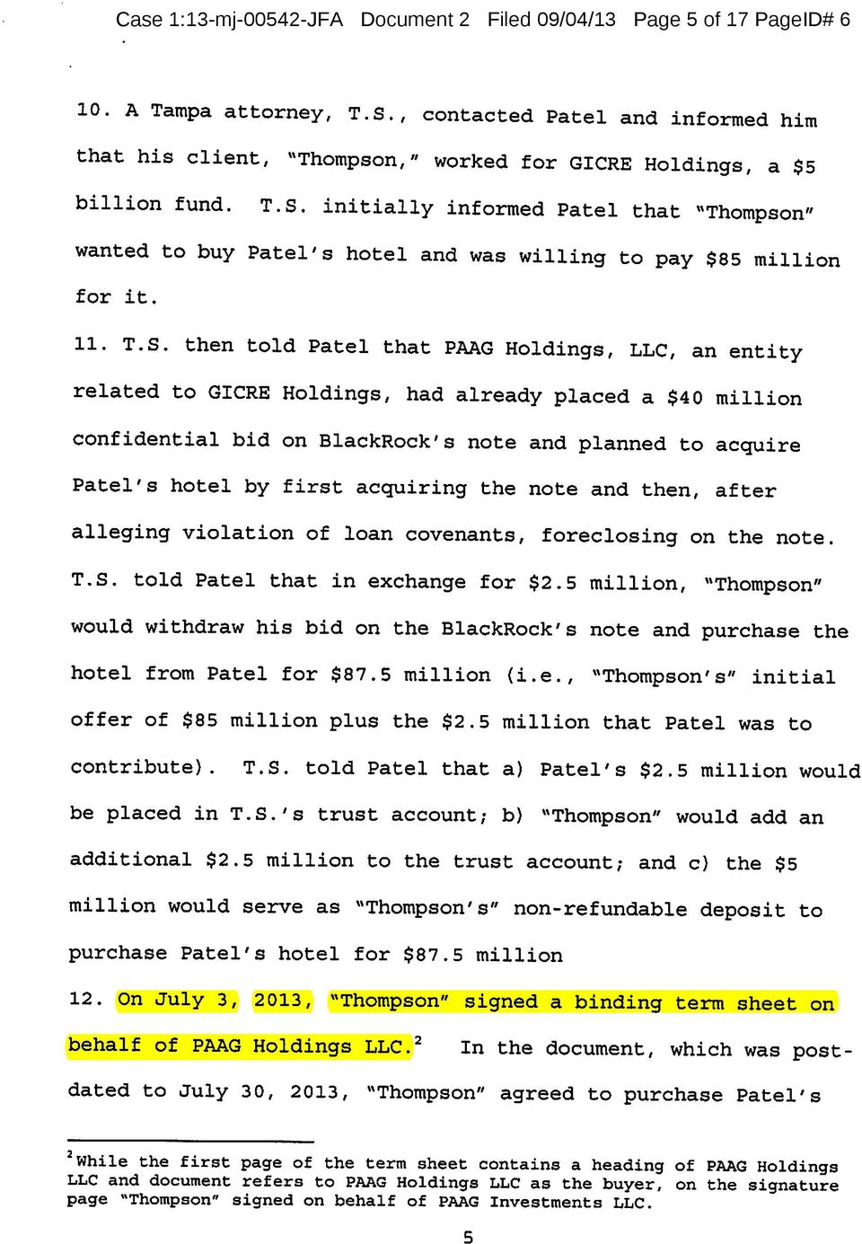 "initially informed Patel that ""Thompson"" wanted to buy Patel's hotel and was willing to pay $85 million for it. 11. T.S."