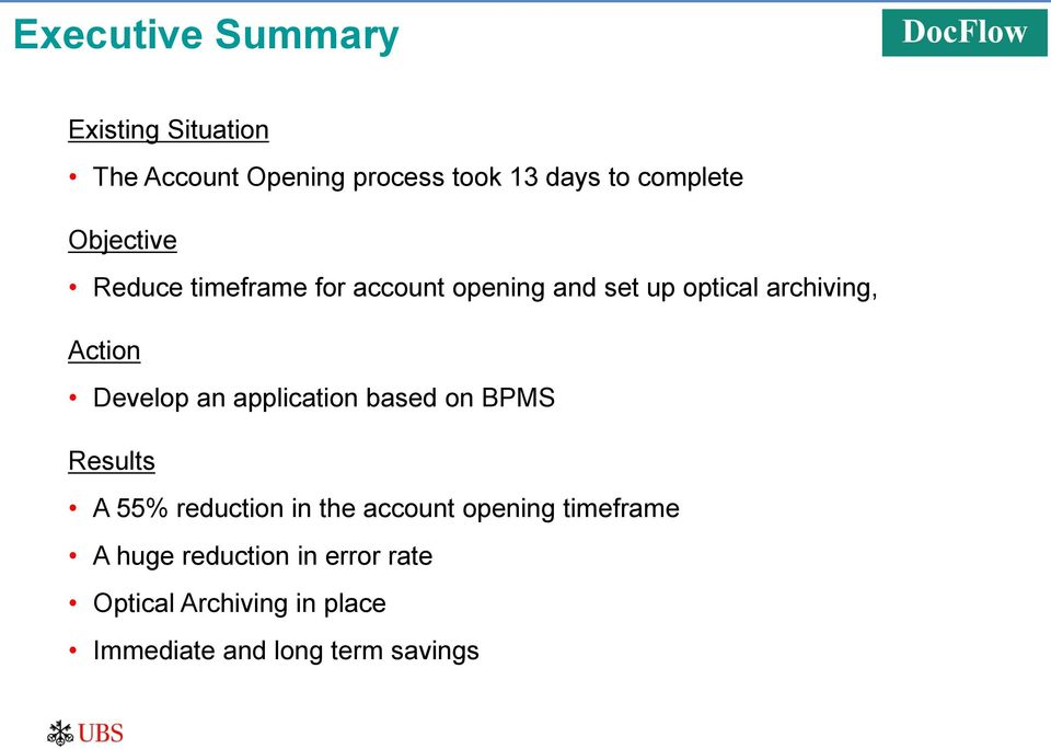 Develop an application based on BPMS Results A 55% reduction in the account opening