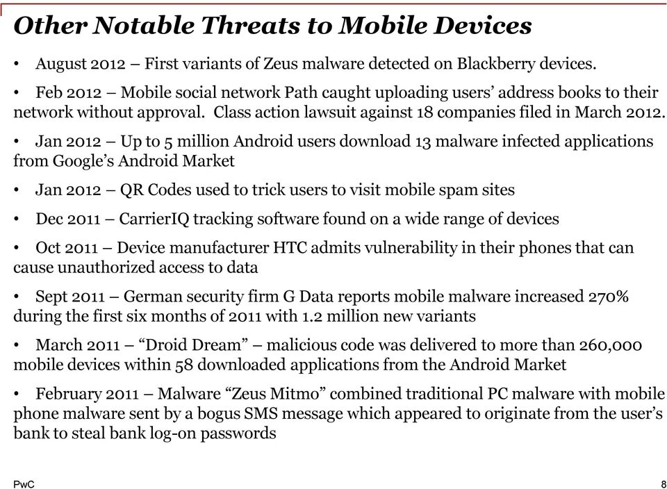 Jan 2012 Up to 5 million Android users download 13 malware infected applications from Google s Android Market Jan 2012 QR Codes used to trick users to visit mobile spam sites Dec 2011 CarrierIQ