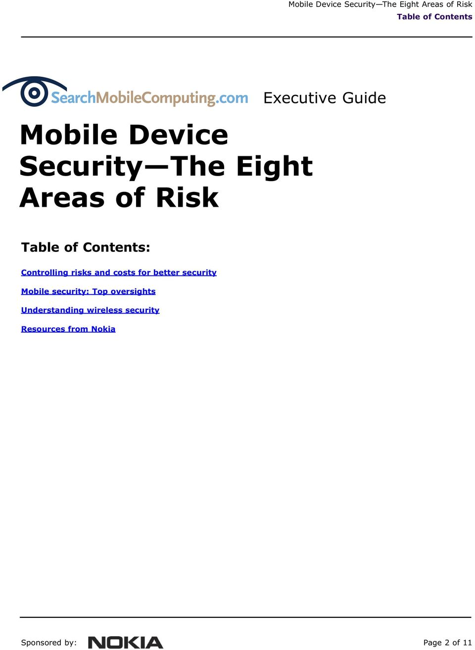 Controlling risks and costs for better security Mobile security: Top