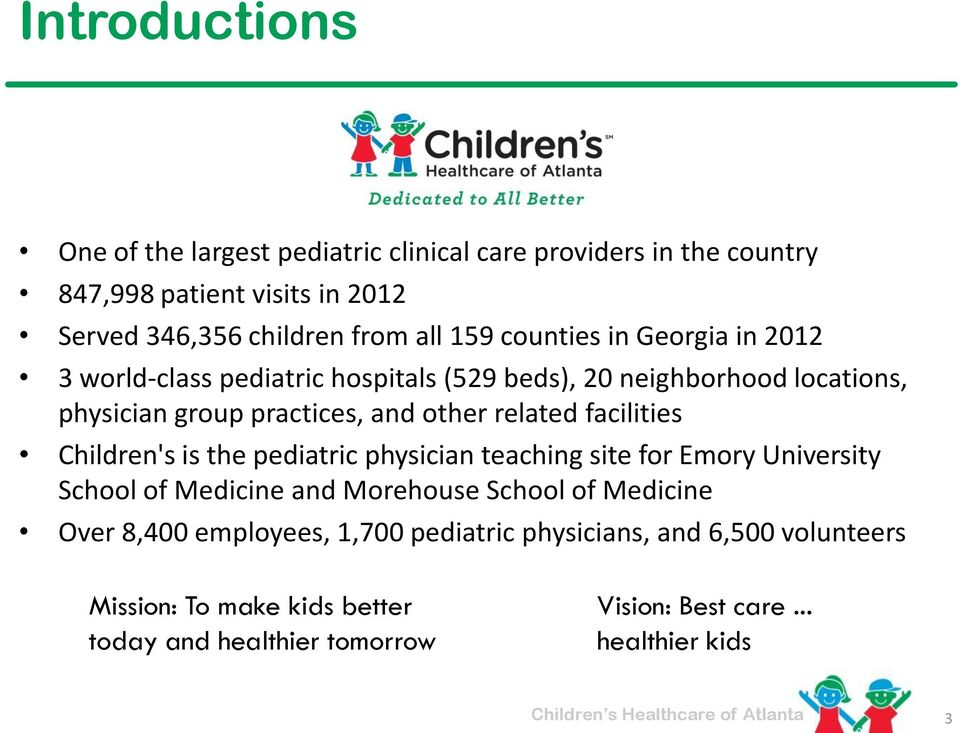 facilities Children's is the pediatric physician teaching site for Emory University School of Medicine and Morehouse School of Medicine Over 8,400
