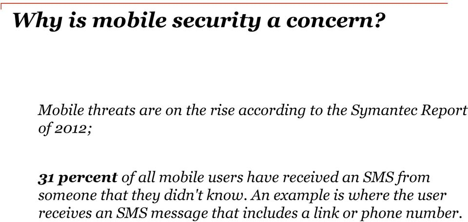 2012; 31 percent of all mobile users have received an SMS from someone