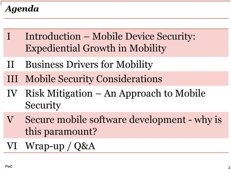 Considerations IV V VI Risk Mitigation An Approach to Mobile