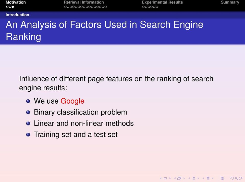 search engine results: We use Google Binary