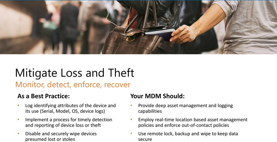 securely wipe devices presumed lost or stolen Your MDM Should: Provide deep asset management and logging capabilities Employ