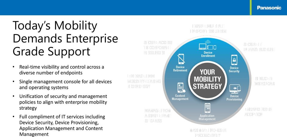 security and management policies to align with enterprise mobility strategy Full compliment of IT