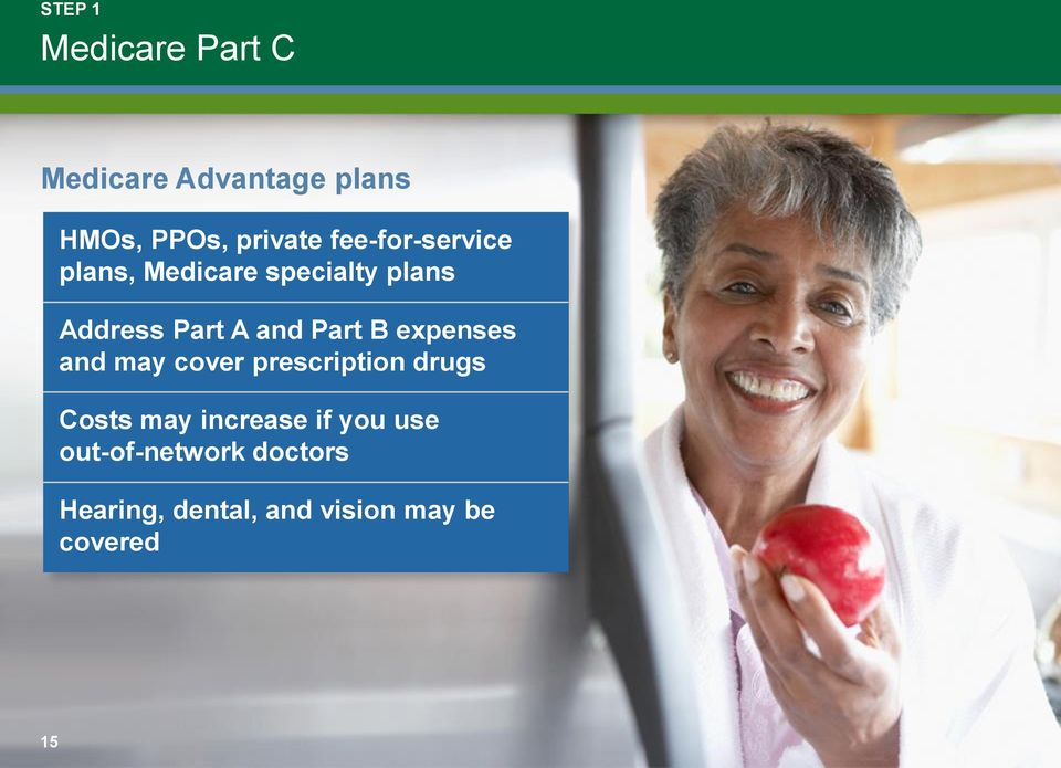 Part B expenses and may cover prescription drugs Costs may increase if