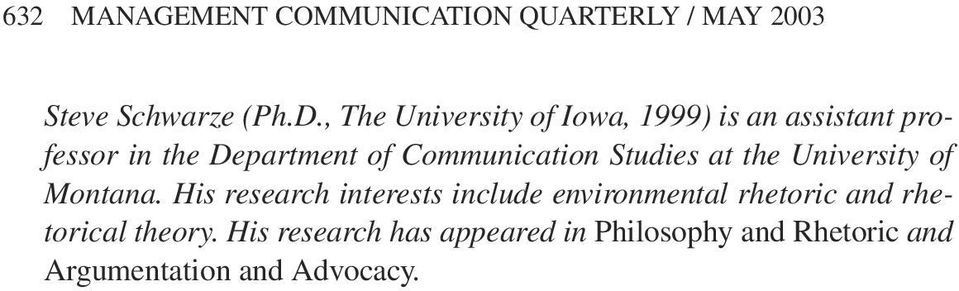 Communication Studies at the University of Montana.