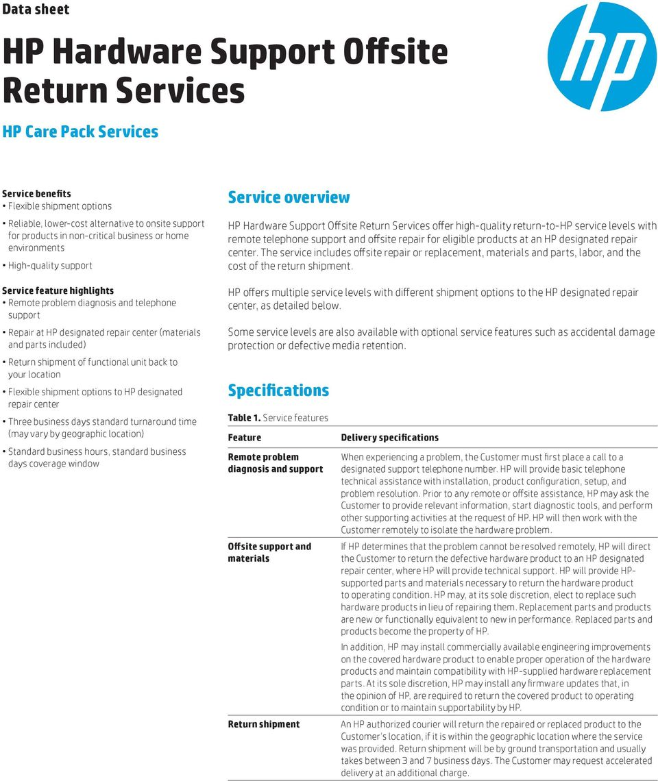 Return shipment of functional unit back to your location Flexible shipment options to HP designated repair center Three business days standard turnaround time (may vary by geographic location)