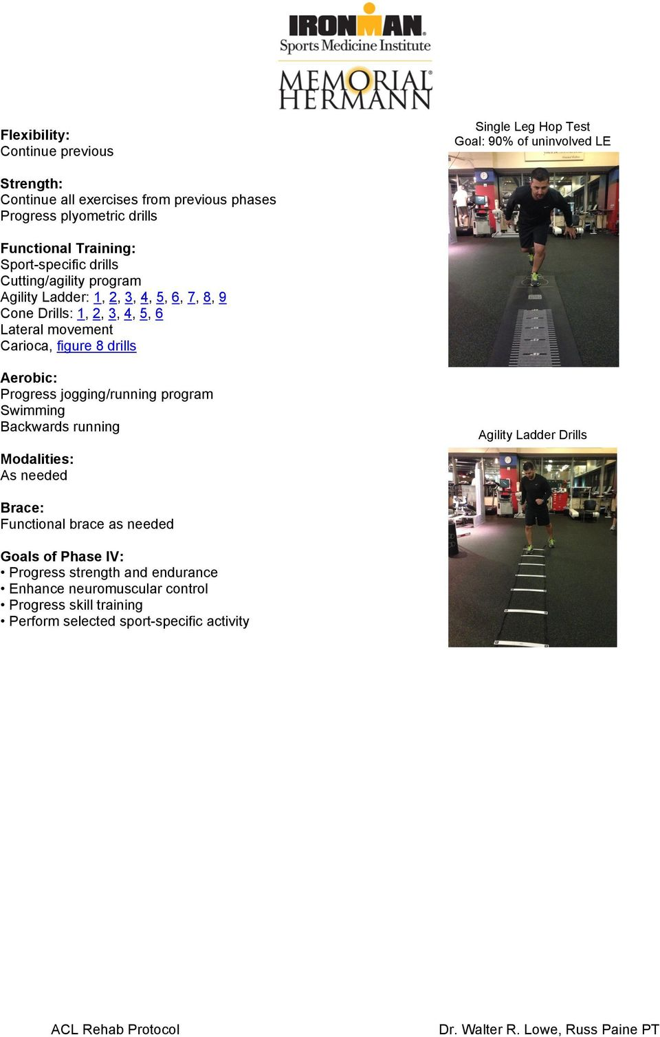 Carioca, figure 8 drills Aerobic: Progress jogging/running program Swimming Backwards running Agility Ladder Drills As needed Functional brace