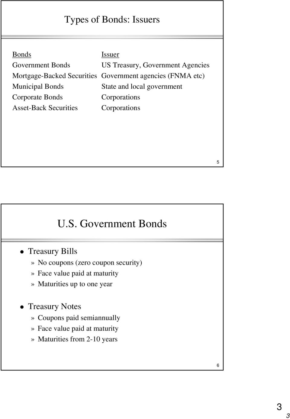 Securities Corporations 5 U.S. Government Bonds Treasury Bills» No coupons (zero coupon security)» Face value paid at